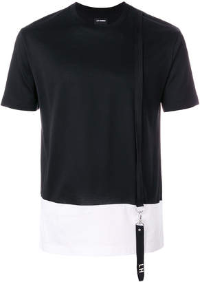 Les Hommes contrast cut T-shirt with suspender