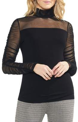 Vince Camuto Ruched Sleeve Sheer Detail Blouse