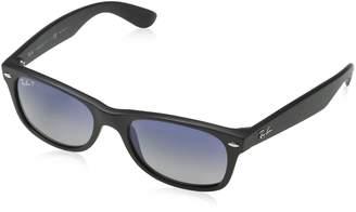 Ray-Ban RB2132 New Wayfarer Polarized Sunglasses, Matte Black, Polar Blue Gradient Grey