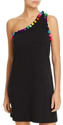 Pitusa Pom-Pom One Shoulder Dress Swim Cover-Up
