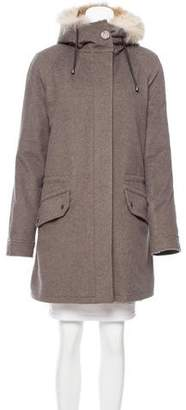 Yves Salomon Army by Fur Lined Knee-Length Coat