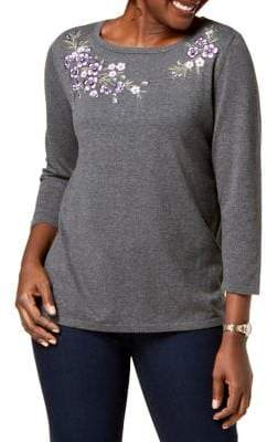 Karen Scott Molly Meadow Embroidered Sweater