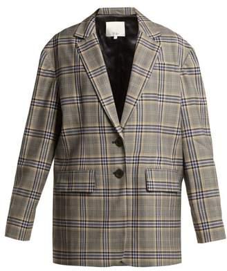 Tibi - Lucas Oversized Checked Woven Blazer - Womens - Grey Multi