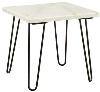 Acme Telestis Square Marble Top End Table in Marble and Black