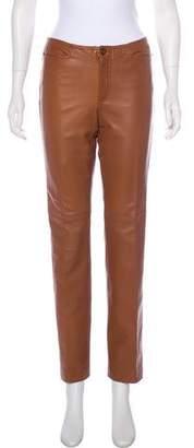 Ralph Lauren Black Label Mid-Rise Leather Pants