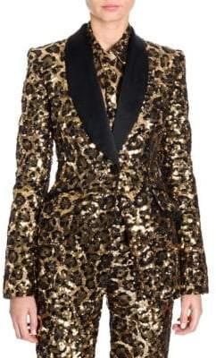 Dolce & Gabbana Leopard Print Sequin Shawl Collar Jacket