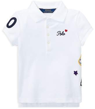 Polo Ralph Lauren Girls' Polo Shirt with Varsity Patches - Little Kid
