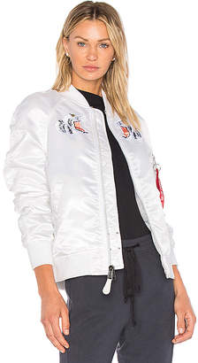 ALPHA INDUSTRIES MA-1 Souvenir Tiger Jacket in White $250 thestylecure.com