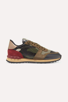 Valentino Garavani Leather And Suede-trimmed Camouflage-print Canvas Sneakers - Army green