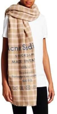 Acne Studios Men's Cassir Wool Check Scarf - Beige Pink