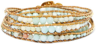 Chan Luu Leather, Gold-plated And Amazonite Wrap Bracelet - Blue