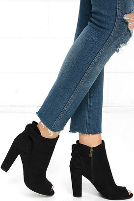 Ready to Stun Black Suede Peep-Toe Booties $42 thestylecure.com