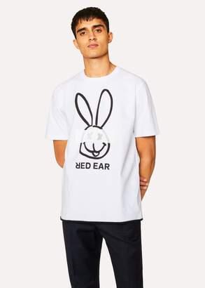 Men's White Red Ear 'Cross-Eyed Rabbit' Print T-Shirt
