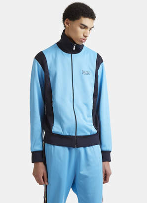 Gucci Striped Technical Zip-Up Jersey Sweater in Blue