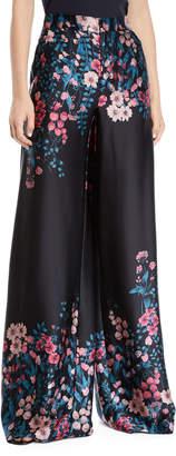 Nanette Lepore Symbolic Flared Floral Silk Pants