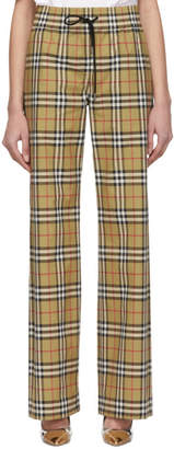 Burberry Beige and Black Vintage Check Drawcord Lounge Pants
