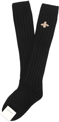 Gucci Bee Embroidered Wool Cashmere Socks