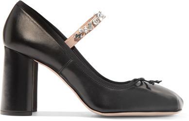 Miu Miu - Crystal-embellished Leather Pumps - Black