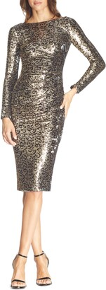 Dress the Population Emilia Leopard Sequin Long Sleeve Cocktail Dress