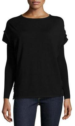 Ralph Lauren Collection Long-Sleeve Fringe Sweater, Black $650 thestylecure.com