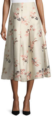 Co Floral-Jacquard Long Taffeta Skirt