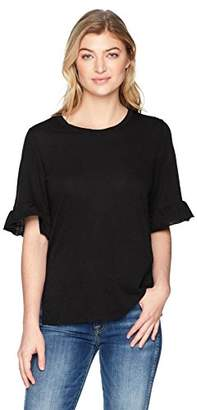 Michael Stars Women's Supima Cotton slub Crew Neck with Ruffle Sleeve