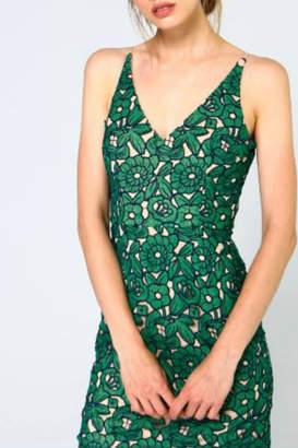 Minuet Green Floral Lace Short Dress