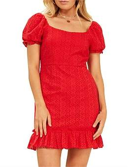 MinkPink Puff Sleeve Anglaise Dress