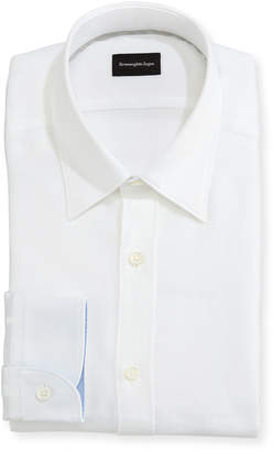 Ermenegildo Zegna Woven Mesh Dress Shirt, White