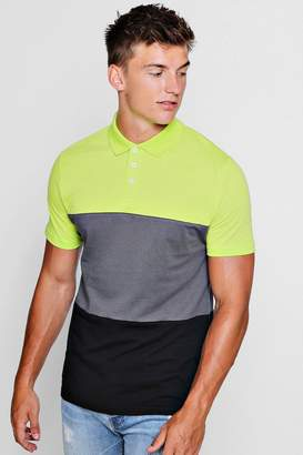 boohoo Colour Block Short Sleeve Polo Shirt