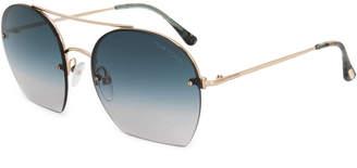 Tom Ford Men's Antonia Aviator Sunglasses Ft0506 28W 55 | Rose Gold Frames | Blue Gradient Lenses 55Mm Sunglasses