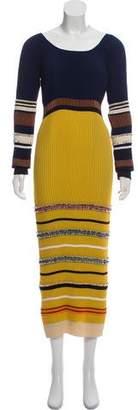 Derek Lam Pleated Long Sleeve Midi Dress