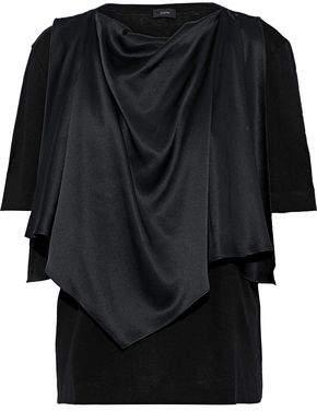 Joseph Layered Draped Silk-satin And Cotton-jersey T-shirt