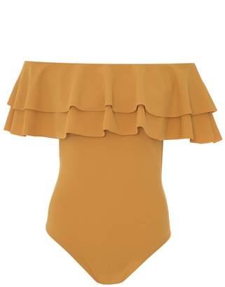 Quiz Mustard Double Frill Bardot Bodysuit