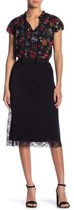 Kensie Pleated Mesh Lace Skirt