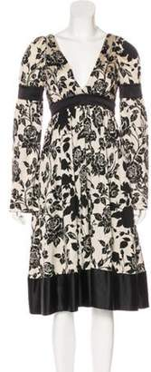 Kenzo Silk Printed Midi Dress black Silk Printed Midi Dress