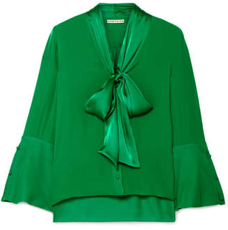 Alice + Olivia Merideth Pussy-bow Satin And Silk Crepe De Chine Blouse