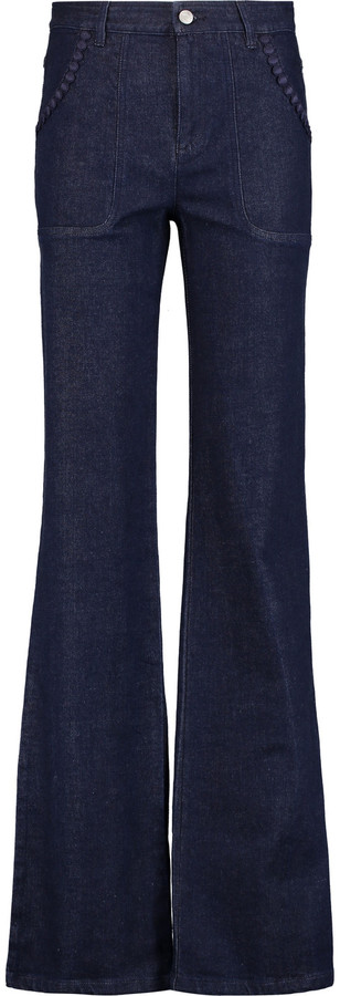 See By ChloeSee by Chloé Embroidered high-rise flared jeans