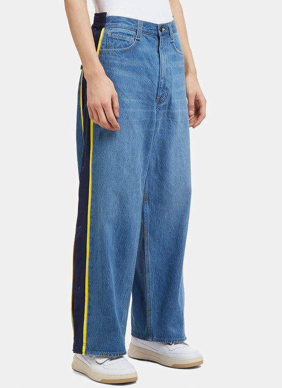 Denim Popper Pants in Blue