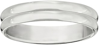 Women's 14K White Gold 4mm Double-Ribbed Wedding Band