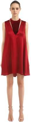 Valentino Hammered Satin & Velvet Mini Dress