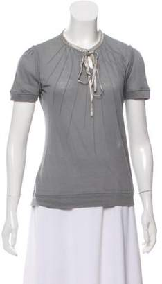 Dolce & Gabbana Short Sleeve V-Neck Top Grey Short Sleeve V-Neck Top