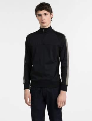 Calvin Klein bonded cotton jersey zip sweater
