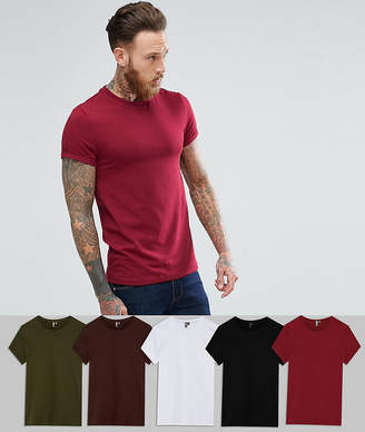 Asos DESIGN muscle fit t-shirt with roll sleeve 5 pack save