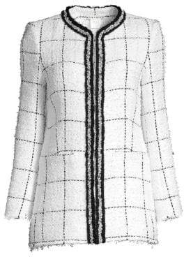 Alice + Olivia Women's Indria Windowpane Structured Tweed Jacket - White Black - Size 14