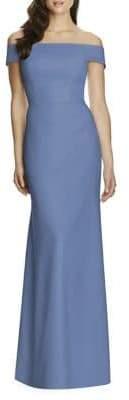 Dessy Collection Full Length Off Shoulder Crepe Dress