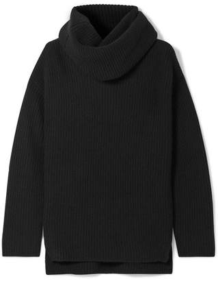Joseph Oversized Ribbed Cashmere Turtleneck Sweater - Black