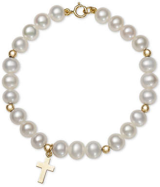 Macy's Children's Cultured Freshwater Pearl (5mm) Cross Charm Bracelet in 14k Gold