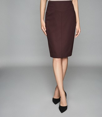 Reiss LISSIA SKIRT TEXTURED PENCIL SKIRT Berry