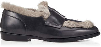 Jimmy Choo TEDI/F Black Brushed Off Leather Loafers with Rabbit Fur
